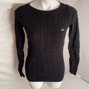 Lacoste black cable knit sweater 38